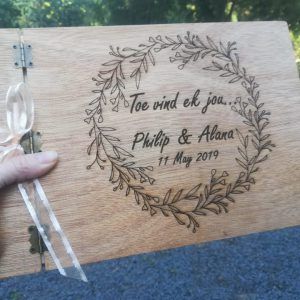 A custom-made wooden guest book