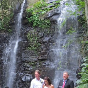 The ceremony at Waterfall Cathedral