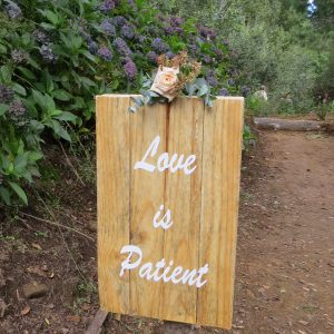 Love is Patient - beautiful boards along the path to the waterfall