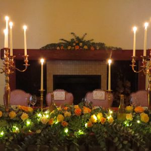 The main table - in front of the fireplace