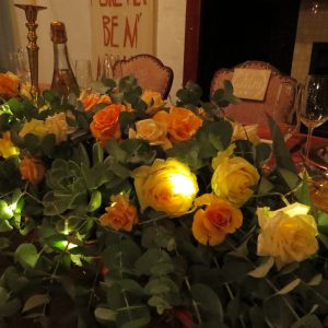 Fairy-lights inside the magnificent flower arrangements made the magical at night